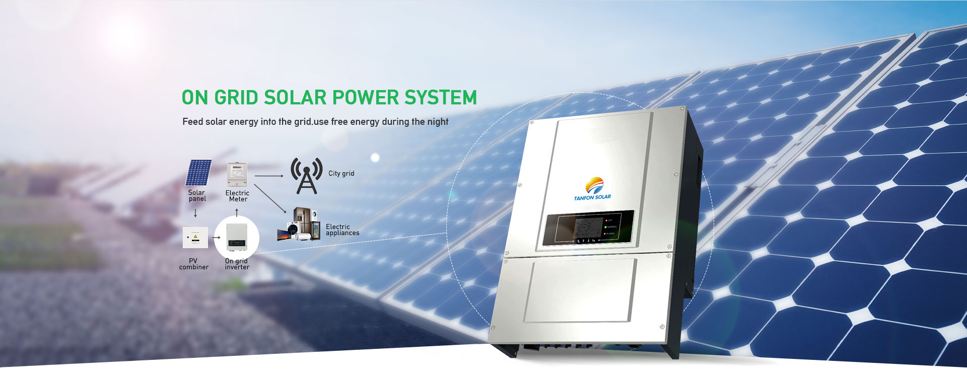 full solar power system set work with diesel generator