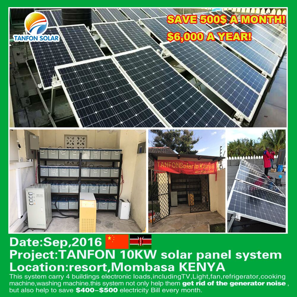 10 kw inverter solar panel system use for small resort in Kenya