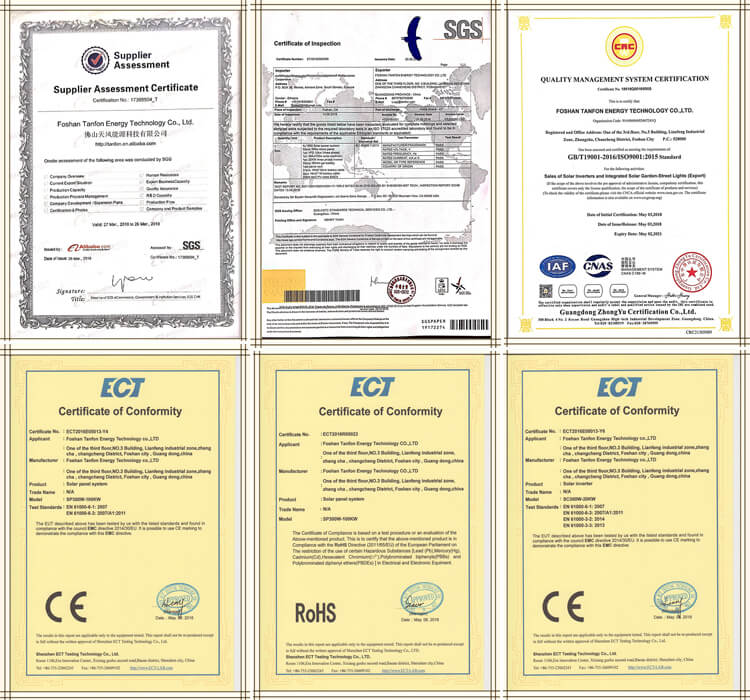 solar products certificate