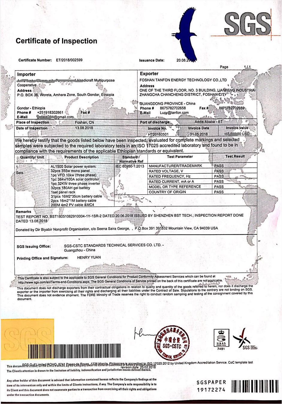 Tanfon solar SGS certificate