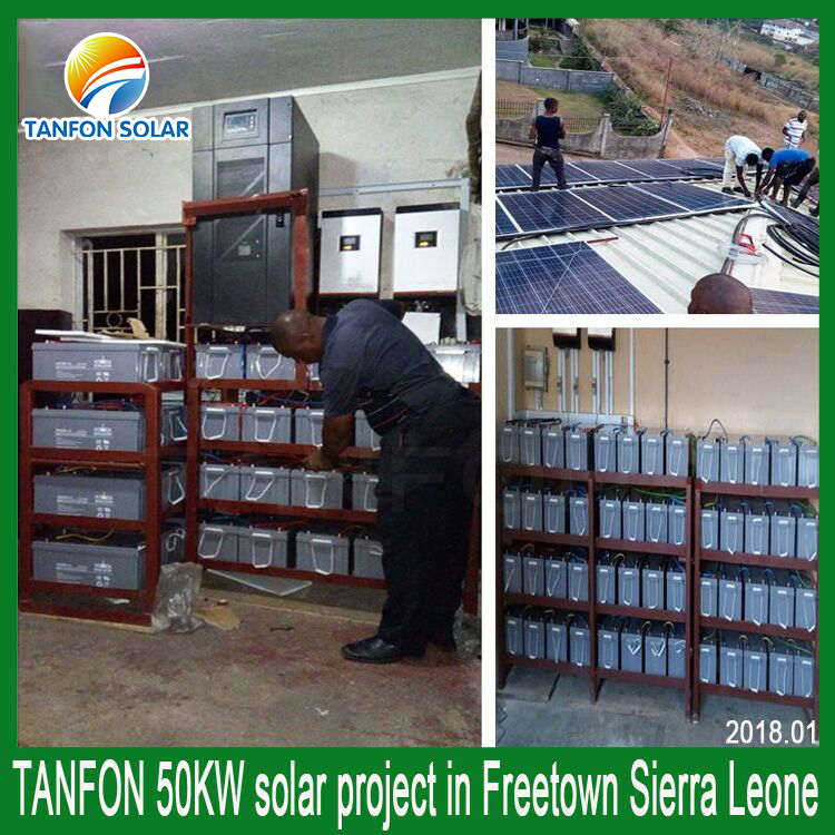 50KW off grid solar system for Sierra Leone factory